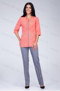 Медицинский костюм-модель-2285 (ткань-х/б/персиковый/серый/размер 42-56)