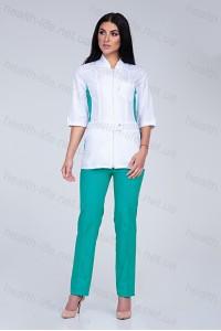 Медицинский костюм-модель-2287  (ткань-х/б/белый/мятный/размер 42-56)