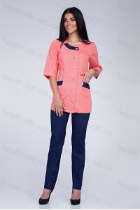 Медицинский костюм-модель-2288 (ткань-х/б/персиковый/темно-синий/размер 42-66)