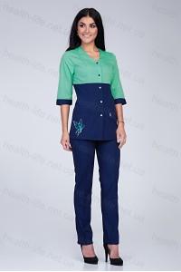 Медицинский костюм-модель-2290 (ткань-х/б/яблуко/темно-синий/вышивка/размер 40-6..
