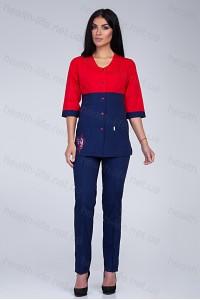 Медицинский костюм-модель-2291 (ткань-х/б/красный/темно-синий/вышивка/размер 40-..