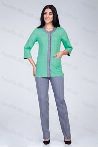 Медицинский костюм-модель-2292 (ткань-х/б/яблоко/серый/размер 42-60)