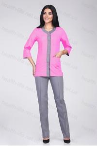 Медицинский костюм-модель-22101 (ткань-х/б//светло-розовый/серый/размер 42-60)