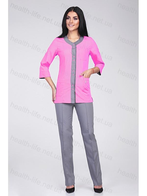 Медицинский костюм-модель-2274 (ткань-х/б//светло-розовый/серый/размер 42-60)