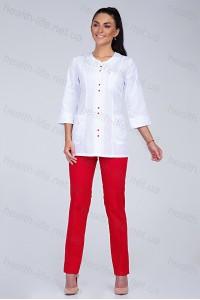 Медицинский костюм-модель-2293  (ткань-х/б/белый/красный/размер 42-56)