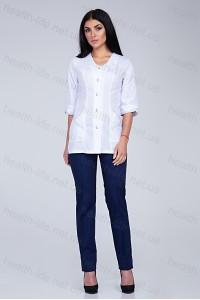 Медицинский костюм-модель-2294 (ткань-х/б/белый/темно-синий/размер 42-60)
