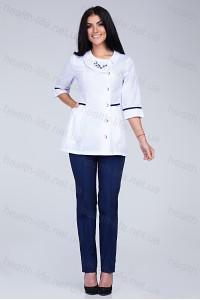 Медицинский костюм-модель-2295 (ткань-х/б/белый/темно-синий/вышивка/размер 40-52..