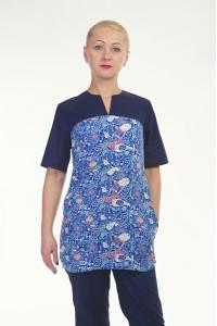 Медицинский хирургический костюм-модель-2296 (ткань-х/б/темно-синий/рисунок/разм..