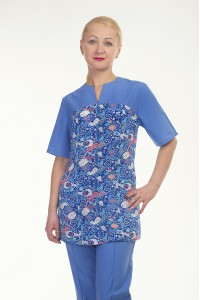 Медицинский хирургический костюм-модель-2297 (ткань-х/б/синий/рисунок/размер 42-..