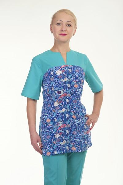 Медицинский хирургический костюм-модель-2298 (ткань-х/б/мятный/рисунок/размер 42-60)