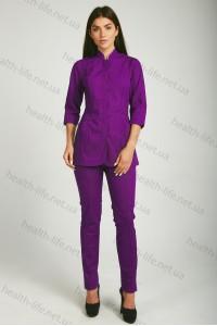 Медицинский  костюм-модель-22115 (ткань-х/б/баклажан/размер 42-52)