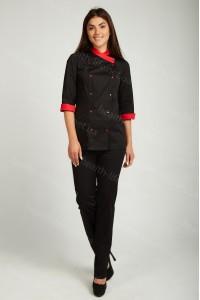 Поварской костюм-модель-22116 (ткань-х/б/черный/размер 42-56)