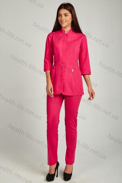 Медицинский  костюм-модель-22119 (ткань-х/б/малина/размер 44-52)