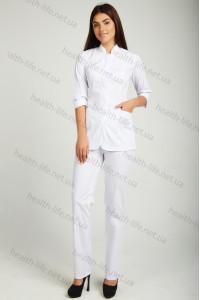 Медицинский  костюм-модель-22118 (ткань-х/б/белый/размер 42-52)