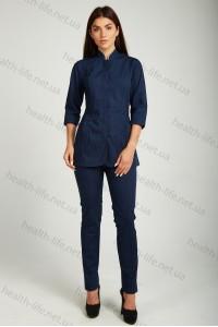 Медицинский  костюм-модель-22120 (ткань-х/б/темно-синий/размер 42-52)