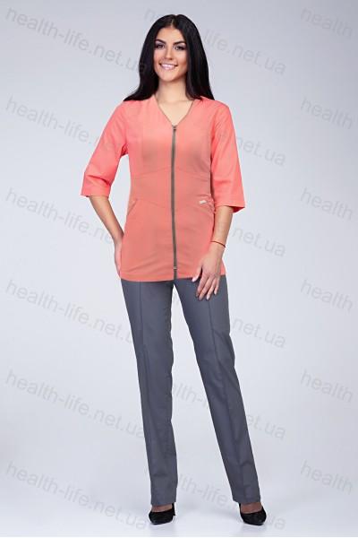 Медицинский костюм-модель-22108 (ткань-х/б/персиковый/серый/размер 42-60)