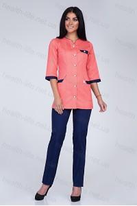 Медицинский костюм-модель-3201 (ткань-коттон/персик/темно-синий/размер 42-66)