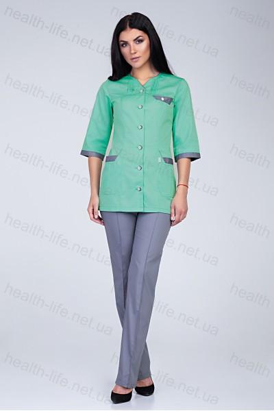 Медицинский костюм-модель-3203 (ткань-коттон/яблуко/серый/размер 42-66)