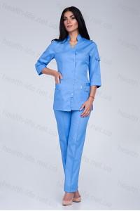 Медицинский костюм-модель-3207 (ткань-коттон/голубой/размер 46,56,58,60,62,64)