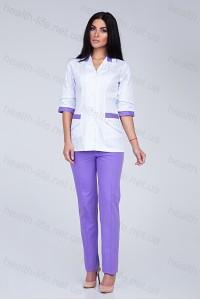 Медицинский костюм-модель-3209 (ткань-коттон/белый/лиловый/размер 42-64)