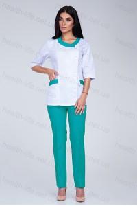 Медицинский костюм-модель-3216 (ткань-коттон/белый/мятный/размер 42-56)