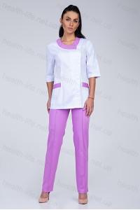 Медицинский костюм-модель-3217 (ткань-коттон/белый/сирень/размер 42-56)