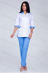 Медицинский костюм-модель-3218 (ткань-коттон/белый/голубой/размер 40-66)