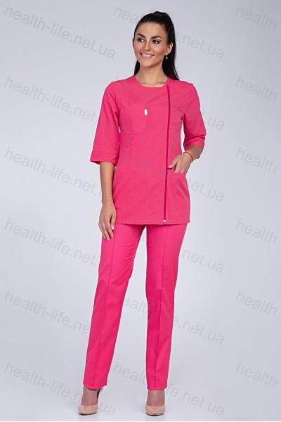 Медицинский костюм-модель-3220 (ткань-коттон/малиновый/размер 40-56)