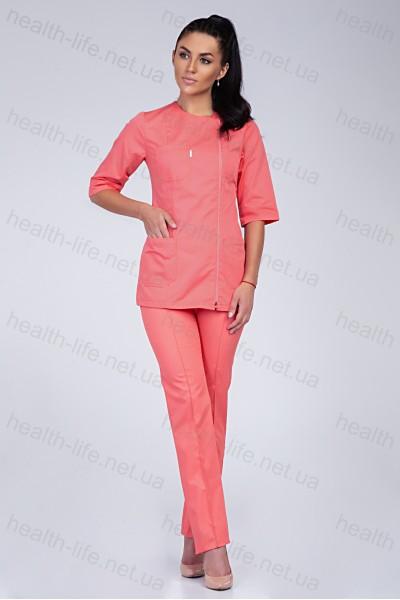 Медицинский костюм-модель-3221 (ткань-коттон/персиковый/размер 40-56)