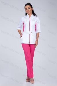 Медицинский костюм-модель-3223 (ткань-коттон/белый/малиновый/размер 40-56)