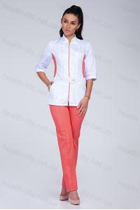Медицинский костюм-модель-3224 (ткань-коттон/белый/персиковый/размер 40-56)