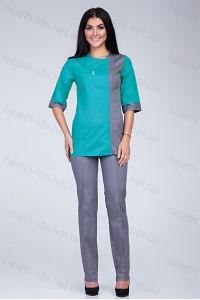 Медицинский костюм-модель-3225 (ткань-коттон/мятный/серый/размер 42-60)