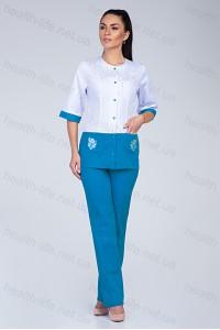Медицинский костюм-модель-3227 (ткань-коттон/белый/бирюзовый/вышивка/размер 40,4..