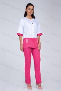 Медицинский костюм-модель-3228 (ткань-коттон/белый/малиновый/вышивка/размер 40-5..