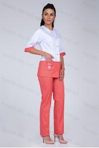 Медицинский костюм-модель-3229 (ткань-коттон/белый/персиковый/вышивка/размер 40-..