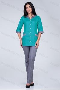 Медицинский костюм-модель-3230 (ткань-коттон/темно-мятный/серый/размер 40-68)