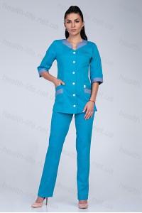 Медицинский костюм-модель-3231 (ткань-коттон/бирюзовый/серый/размер 40-68)