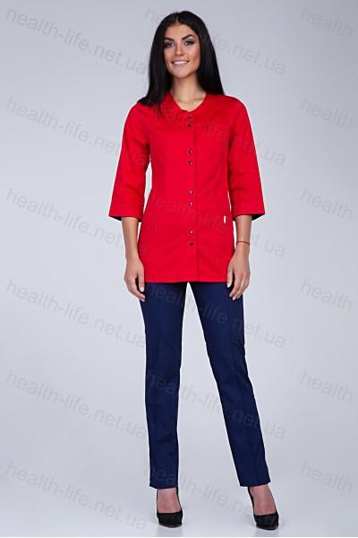 Медицинский костюм-модель-3232 (ткань-коттон/красный/темно-синий/размер 42-60)