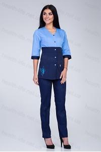 Медицинский костюм-модель-3234 (ткань-коттон/голубой/темно-синий/вышивка/размер ..