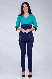 Медицинский костюм-модель-3235 (ткань-коттон/мятный/темно-синий/размер 42-60)