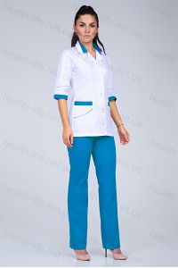 Медицинский костюм-модель-3236 (ткань-коттон/белый/бирюзовый/размер 42-64)