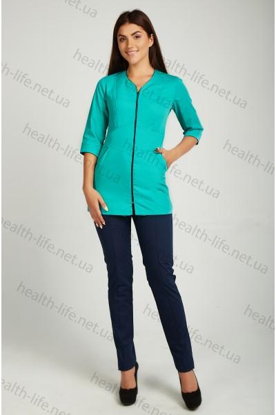 Медицинский костюм-модель-3243 (ткань-коттон/темно-мятный/темно-синий/размер 42-66)