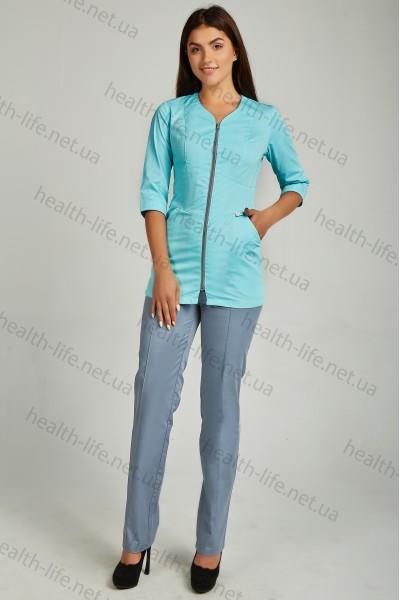 Медицинский костюм-модель-3244 (ткань-коттон/мятно-небесный/серый/размер 42-60)