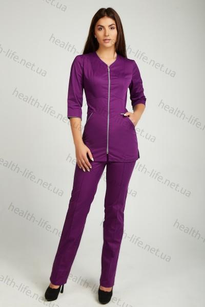 Медицинский костюм-модель-3245 (ткань-коттон/баклажан/размер 42-66)