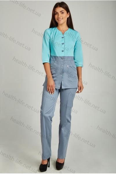 Медицинский костюм-модель-3248 (ткань-коттон/мятно-небесный/серый/размер 42-60)