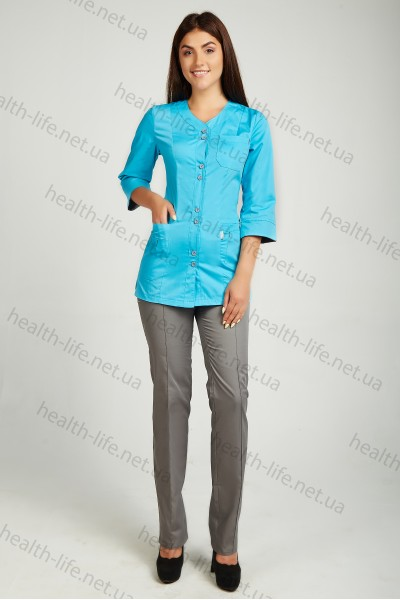 Медицинский костюм-модель-3252 (ткань-коттон/голубой/серый/размер 42-60)