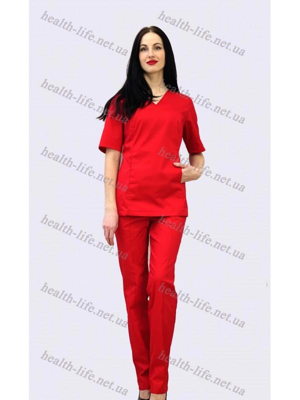 Медицинский костюм-модель-3259 (ткань-коттон/красный /размер 42-60)