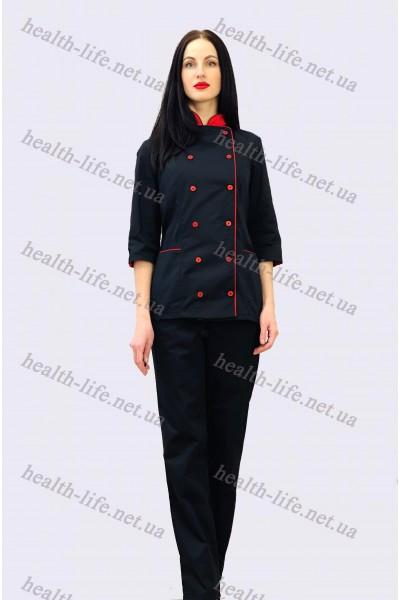 Поварской костюм-модель-3266 (ткань-коттон/черный/размер 42-56)