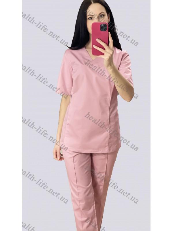 Медицинский костюм-модель-3264 (ткань-коттон/розово-пудровый /размер 42-60)