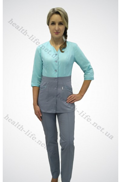 Медицинский костюм-модель-2238 (ткань-хб/яблоко/серый/размер 42-66)